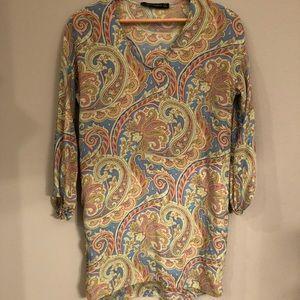 Zara tunic paisley xs silk